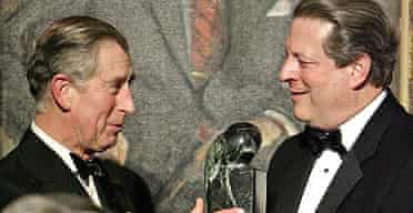 Prince Charles accepts an award for his work for the environment