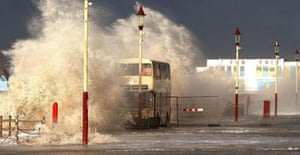 A bus is hit by waves in Blackpool