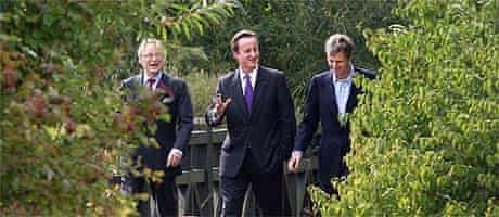 John Gummer, David Cameron and Zac Goldsmith at the Wetlands Centre in Barnes, London