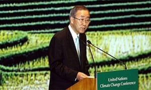 Ban Ki-moon, UN secretary general, speaks at the Bali climate change conference