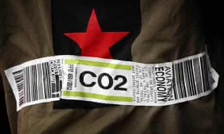 Climate camp replica baggage label showing CO2 instead of LHR