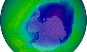 Ozone hole over Antarctica