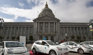 Hybrid electric cars on display in front of City Hall in San Francisco, California.