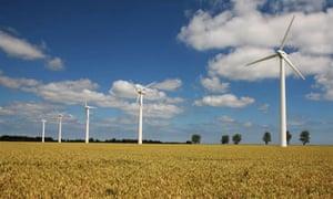 Wind turbines in a wheat field at West Somerton, Norfolk