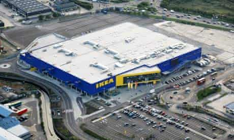Aerial view of an Ikea superstore and car park in Edmonton, north London