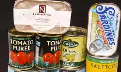 tins of food Sainsburys tomatoes sardines sweetcorn