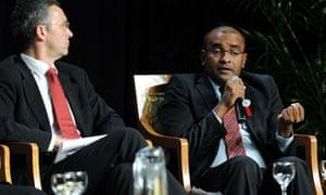 Norway's prime minister Jens Stoltenberg (left) and Guyana's president Bharrat Jagdeo at Cancún