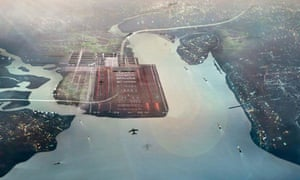 The Thames Hub: overhead shot of planes flying into airport situated in estuary
