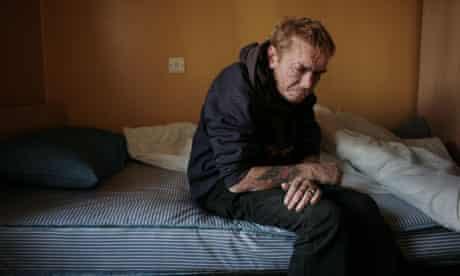 Joe Milligan in his room at Thames Reach's Graham House hostel