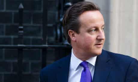 British Prime Minister David Cameron lea