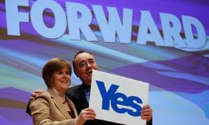 Scotland's first minister and SNP leader Alex Salmond with deputy leader Nicola Sturgeon