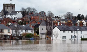 The city of St Asaph in north Wales is surrounded by flood waters