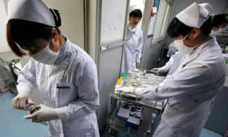 Nurses in the special HIV/AIDS ward in Beijing