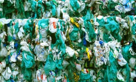 Waste plastic bags at a  recycling plant in South Glamorgan, Wales
