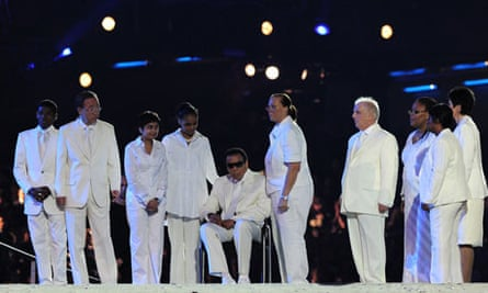 The Olympic flagbearers on stage, with Shami Chakrabati third from left