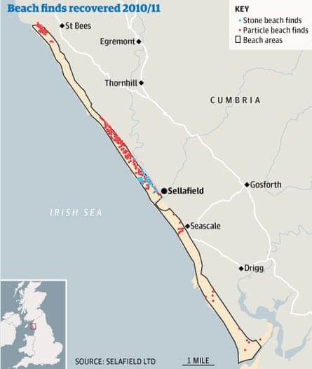 Sellafield beach contamination map
