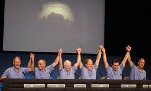 Nasa and Mars science laboratory administrators and managers in Pasadena, California, celebrate