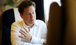 Liberal Democrat leader Nick Clegg on train from London