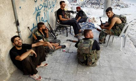 Free Syrian Army soldiers in Aleppo take a break from the fighting