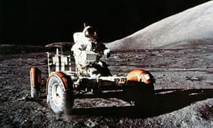 Apollo 17 astronaut Eugene Cernan with the Lunar Rover