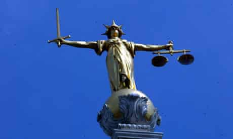 The statue of justice at the Old Bailey court in London