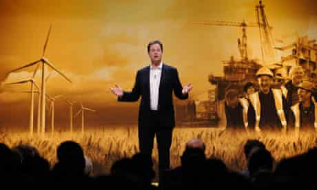 Nick Clegg gives a rally speech at the Liberal Democrats annual conference in Brighton