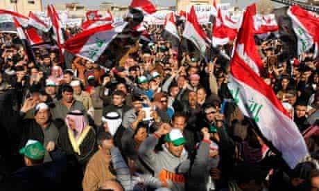 Sunni Muslims protest against the Shia prime minister, Nouri al-Maliki, in Baghdad