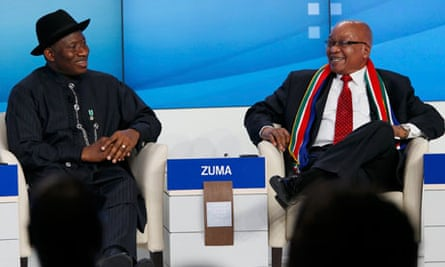 MDG: Nigeria's President Goodluck Jonathan and South Africa's President Jacob Zuma at Davos