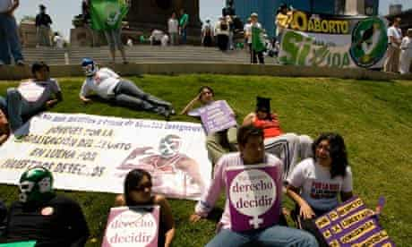 Pro and anti-abortion activists take part in a protest in Mexico City