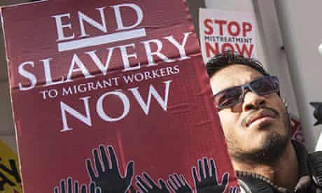 London: Activists Protest at the Qatar Embassy Against Slavery
