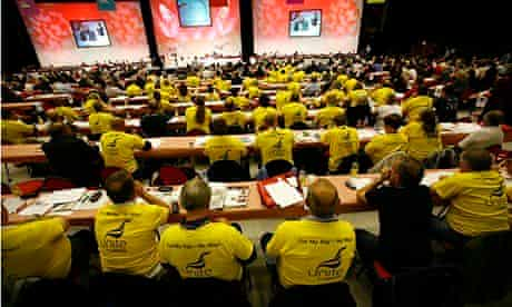 Unite union members at a TUC conference