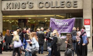 A union picket line at Kings College London during the strike by higher education staff in October