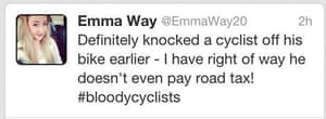 Emma Way tweet about knocking down a cyclist in Norwich