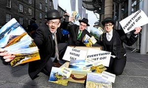 A spoof 'Great Nature Sale' protest at the Edinburgh meeting of the World Forum on Natural Capital