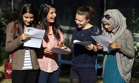 London students examine their GCSE results