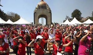 Women dance in Mexico City as part of the One Billion Rising campaign
