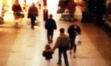 CCTV shows the abduction of two-year-old James Bulger in Merseyside on 12 February 1993