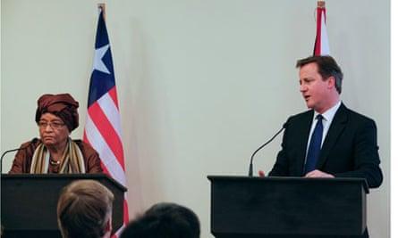 David Cameron and the Liberian president, Ellen Johnson Sirleaf