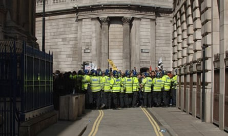 "Police use the 'potentially dangerous practice of ""kettling"" or corralling' protesters"