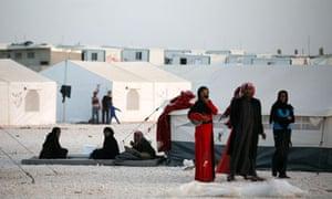 Syrian refugees at al-Zaatri refugee camp in the Jordanian city of Mafraq