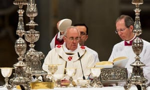 Pope Francis conducts mass inside St Peter's Basilica in Vatican City