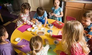 Children in a craft lesson