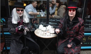 Goths take a tea break during the Whitby Goth Weekend