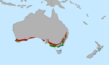 Australia New Zealand areas suitable for growing wine grapes through 2050
