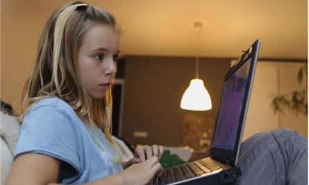 girl using a laptop computer Girl using a laptop computer