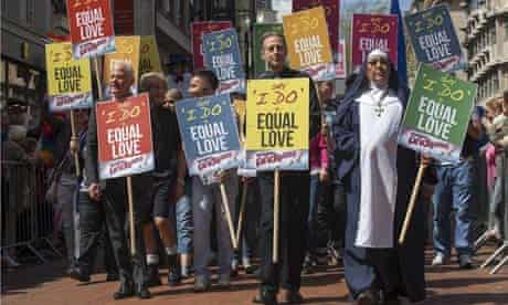 A group of activists march for gay marriage at Birmingham Gay Pridein the UK