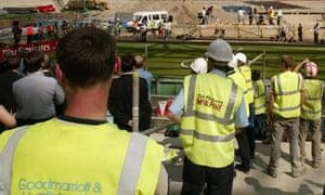 construction workers stadium