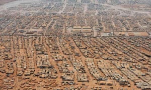 An aerial view of the Zaatari refugee camp in Jordan