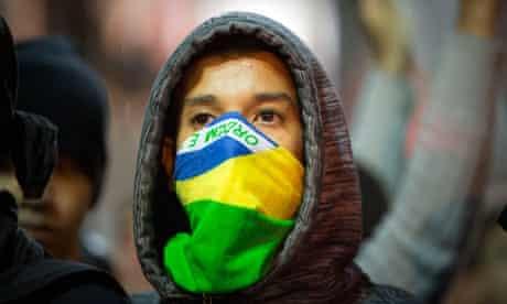 An anti-government protester in Rio