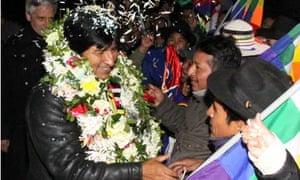 Bolivian President Evo Morales arrives at El Alto airport in La Paz